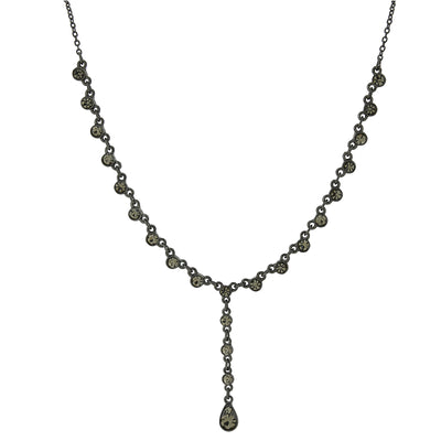 Black-Tone Black Diamond Color Y-Necklace 15 In Adj