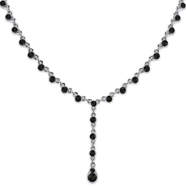 Silver Tone Black Y Necklace 15 In Adj