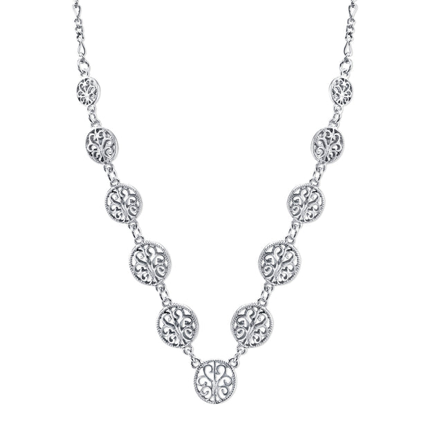 Silver-Tone Multi Round Open Lattice Necklace 16 In Adj