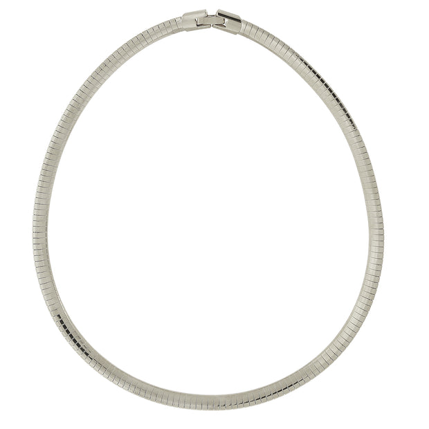 Silver-Tone Omega Necklace 16 In