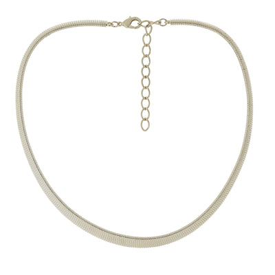 Silver-Tone Omega Mesh Collar Necklace 18 In Adj
