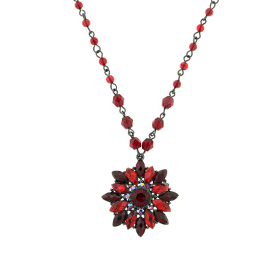 Jet Tone Red Pendant Necklace 16 In Adj
