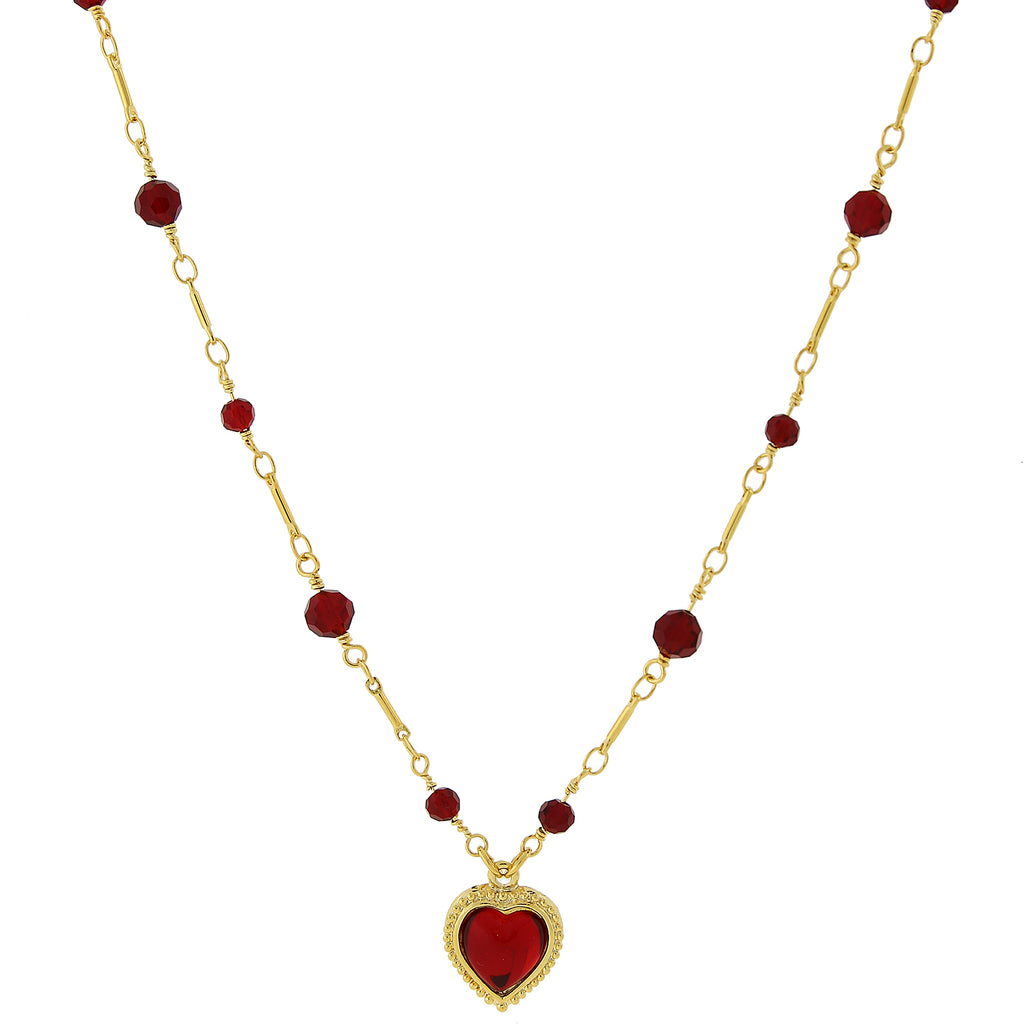 Gold Tone Red Heart Pendant Necklace