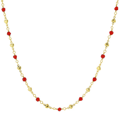 Gold-Tone Red Bead and Heart Chain Necklace 16 In Adj