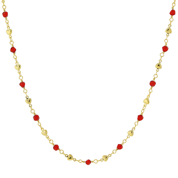Gold-Tone Red Bead And Heart Chain Necklace 16 - 19 Inch Adjustable
