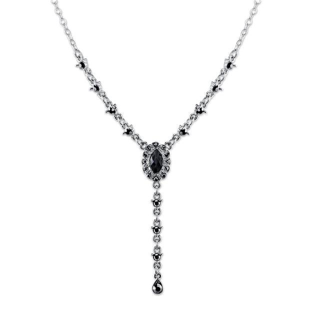 Silver-Tone Black and Hematite Color Y-Necklace 15 In Adj