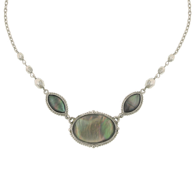 Silver-Tone Grey MOP Oval Necklace 16 In Adj