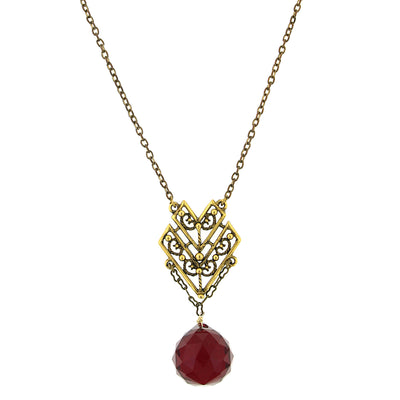 14K Gold Dipped Chevron Red Faceted Briolette Drop Necklace 16 In Adj