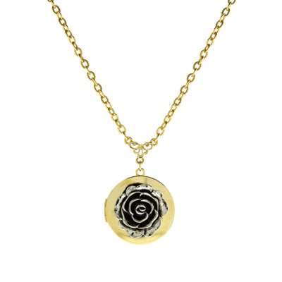 Gold Tone Locket With Silver Tone Rose Pendant Necklace 16-19 Inch Adjustable
