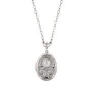 Silver-Tone Frosted Glass Flower Stone Locket Necklace 16 - 19 Inch Adjustable