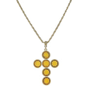 1928 Jewelry 14K Gold Dipped Swarovski Elements Cross Necklace 20 Inches