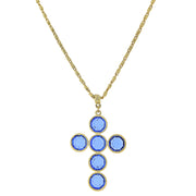 14K Gold  Dipped Blue Swarovski Elements Cross Necklace 20 In