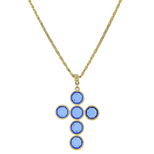 14K Gold- Dipped Blue Swarovski Elements Cross Necklace 20 In