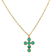 14K Gold- Dipped Green Swarovski Elements Cross Necklace 16 - 19 Inch Adjustable