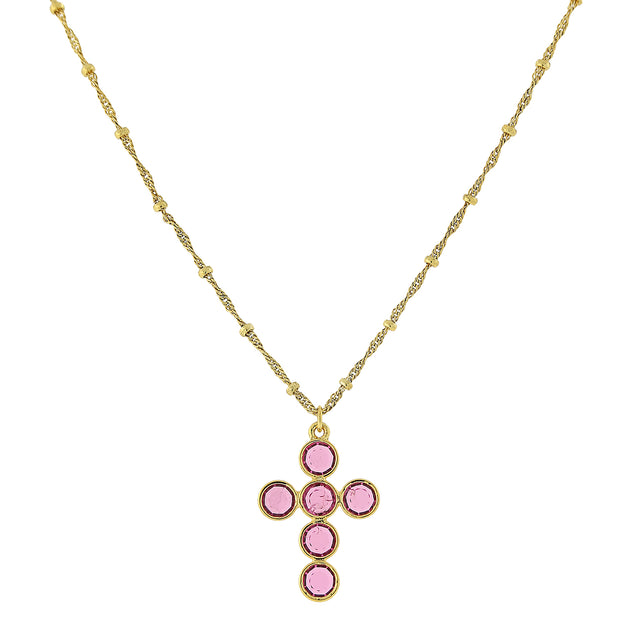 1928 Jewelry 14K Gold- Dipped Swarovski Elements Cross Necklace 16 - 19 Inch Adjustable