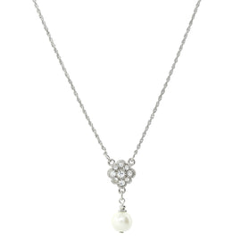 1928 Jewelry: 1928 Jewelry - Silver-Tone Simulated White Pearl and Crystal Necklace 16 Adj.