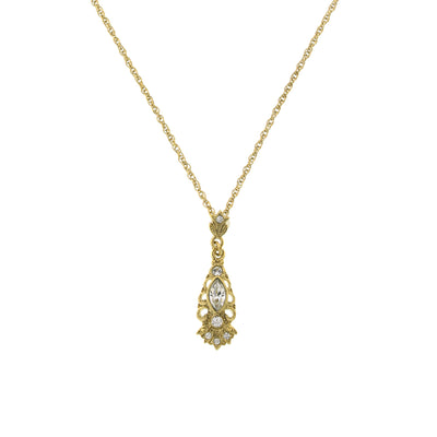 Gold-Tone Crystal Navette Necklace 18 Inch