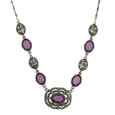 Silver-Tone Purple Stone Necklace 16 - 19 Inch Adjustable
