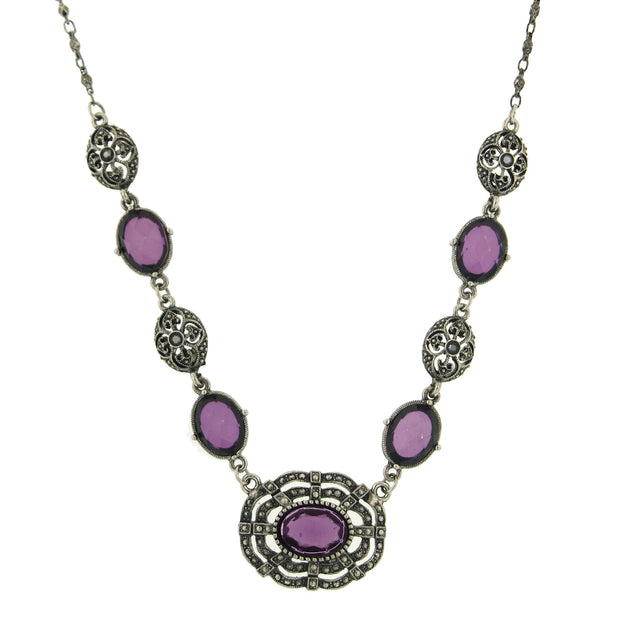 Silver-Tone Purple Stone Necklace 16 In Adj