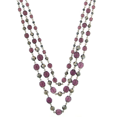 Amethyst Purple and Hematite-Color Beaded 3-Strand Necklace 16 - 19 Inch Adjustable
