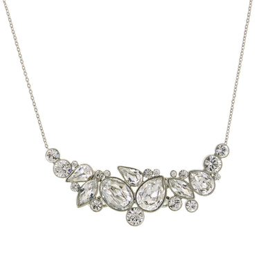 1928 Jewelry - Silver-Tone Genuine Swarovski Crystal Statement Necklace