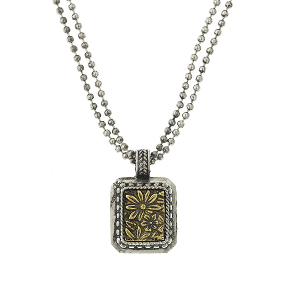 Silver-Tone and Brass Square Pendant Necklace 16 Adj.