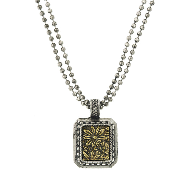 Silver Tone And Brass Square Pendant Necklace 16   19 Inch Adjustable