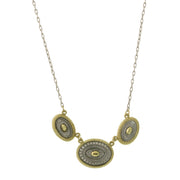 Silver Tone And Gold Tone Oval Station Necklace 16   19 Inch Adjustable