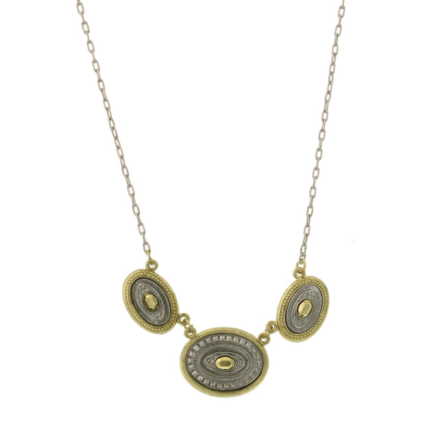 Silver-Tone And Gold-Tone Oval Station Necklace 16 - 19 Inch Adjustable
