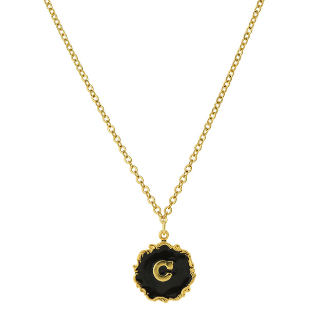 14K Gold Dipped Black Enamel Initial Pendant Necklaces  C
