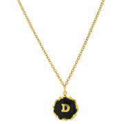 14K Gold Dipped Black Enamel Initial Pendant Necklaces D