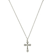 Silver-Tone and Crystal Cross Necklace 15 In Adj