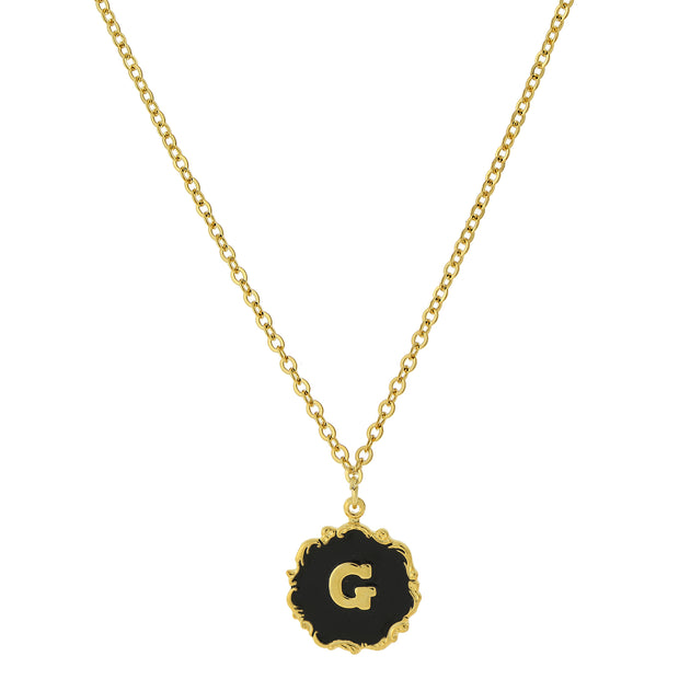 14K Gold Dipped Black Enamel Initial Pendant Necklaces G