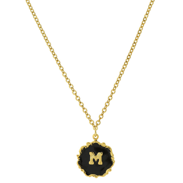 14K Gold Dipped Black Enamel Initial Pendant Necklaces M