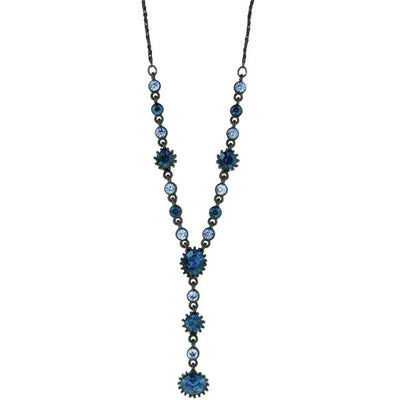 Black-Tone Blue Y Necklace 16 In Adj