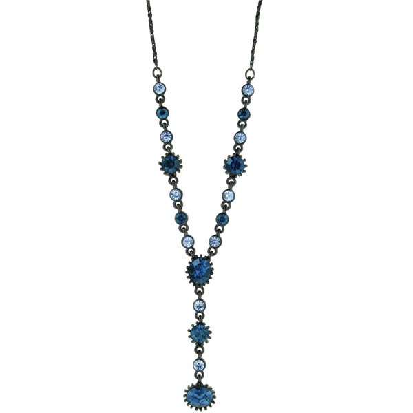 Black-Tone Blue Y Necklace 16 - 19 Inch Adjustable