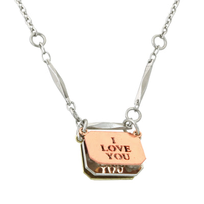 Silver-Tone W /  Rose Gold-Tone And Gold-Tone Flip Message Necklace 16 - 19 Inch Adjustable