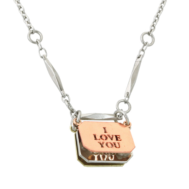 Silver-Tone w/ Rose Gold-Tone and Gold-Tone Flip Message Necklace 16 In Adj