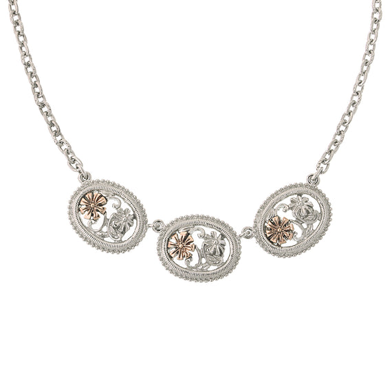 Signature Silver-Tone and Rose Gold-Tone Filigree Flower Collar Necklace