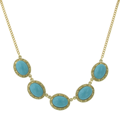 Gold Tone Turquoise Color Five Oval Stone 16 - 19 Inch Adjustable