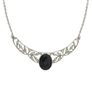 Silver Tone Black Stone Marcasite Look Collar Necklace 16   19 Inch Adjustable