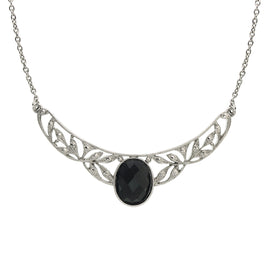 Silver-Tone Black Stone Marcasite-Look Collar Necklace 16 In  Adj