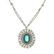 Silver-Tone Blue Large Flower Pendant Necklace 16 In Adj