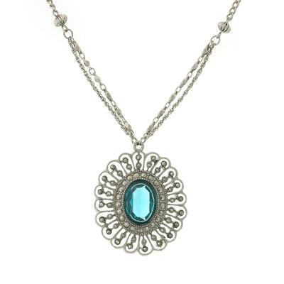 Silver Tone Flower Pendant Necklace 16   19 Inch Adjustable