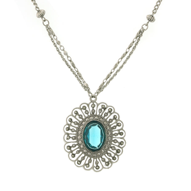 Silver-Tone Flower Pendant Necklace 16 - 19 Inch Adjustable