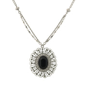 Silver Tone Flower Pendant Necklace 16   19 Inch Adjustable Black