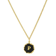 14K Gold Dipped Black Enamel Initial Pendant Necklaces P