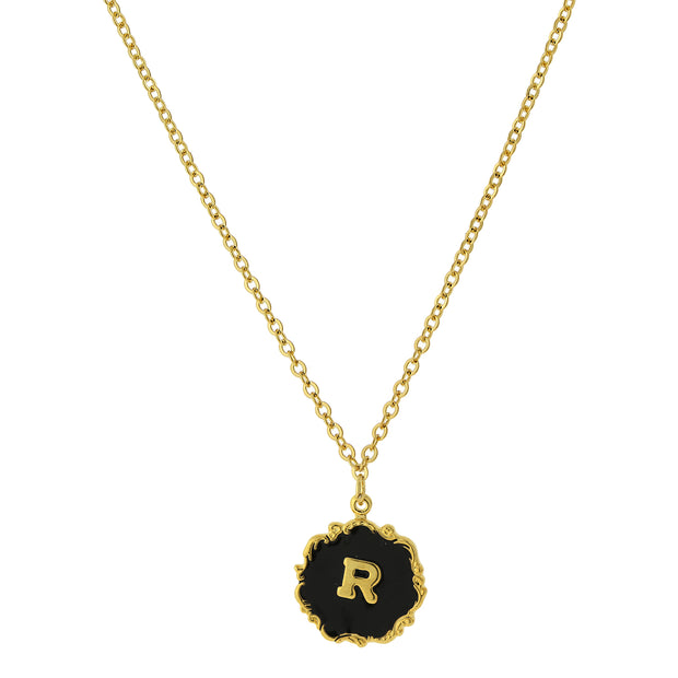 14K Gold Dipped Black Enamel Initial Pendant Necklaces R