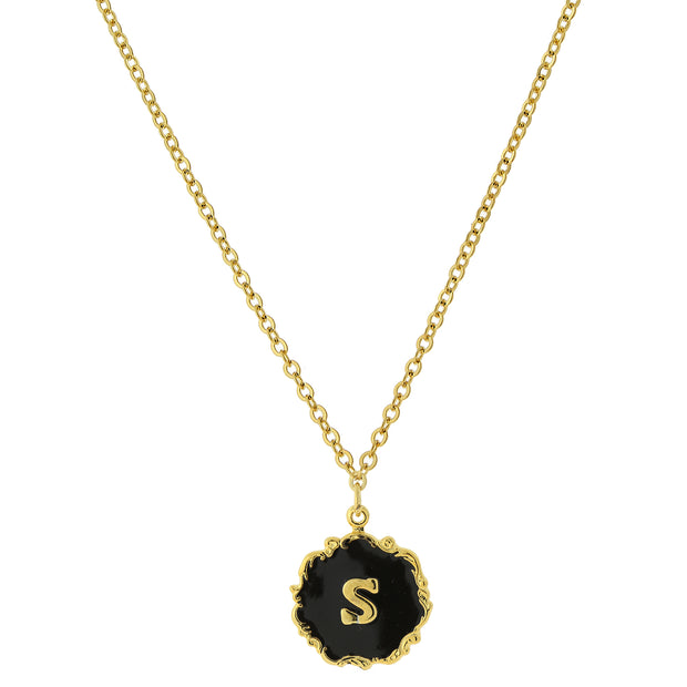 14K Gold Dipped Black Enamel Initial Pendant Necklaces S