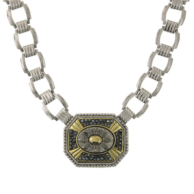 Silver Tone Link Necklace 16 Inch